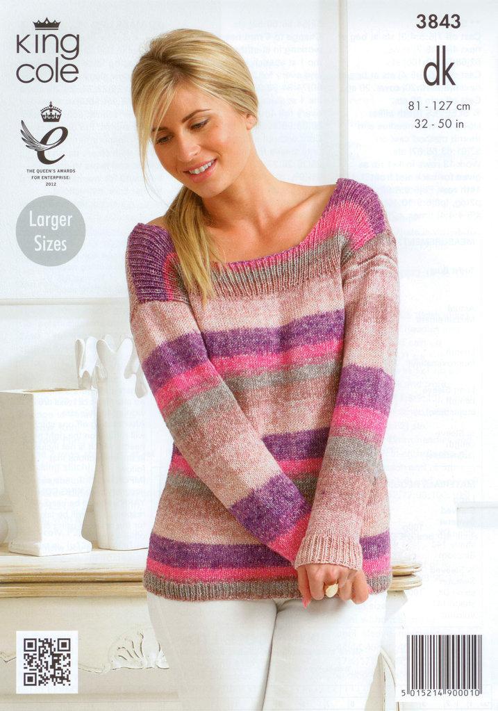 King Cole 3843 Knitting Pattern Ladies Sweater