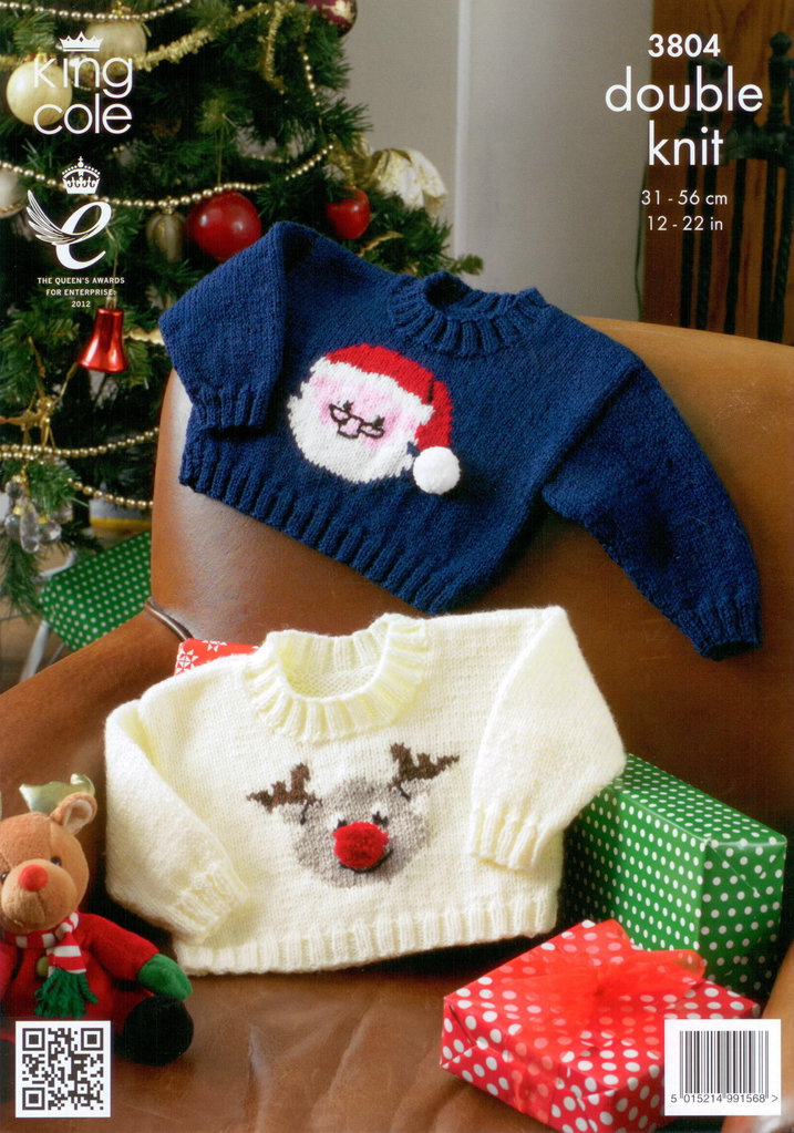 King Cole 3804 Knitting Pattern Christmas Baby Sweaters