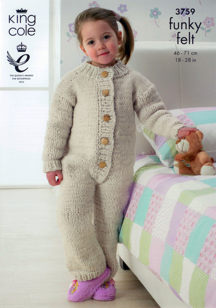 King Cole 3759 Knitting Pattern All In One Suit