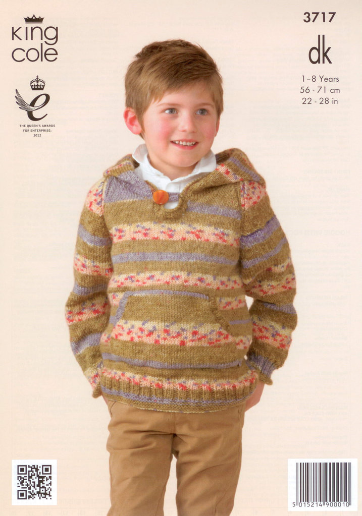 King Cole 3717 Knitting Pattern Childrens Hoodies