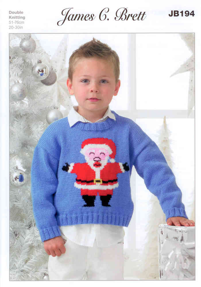 Childs Santa Jumper Jb194 James C Brett Knitting Pattern