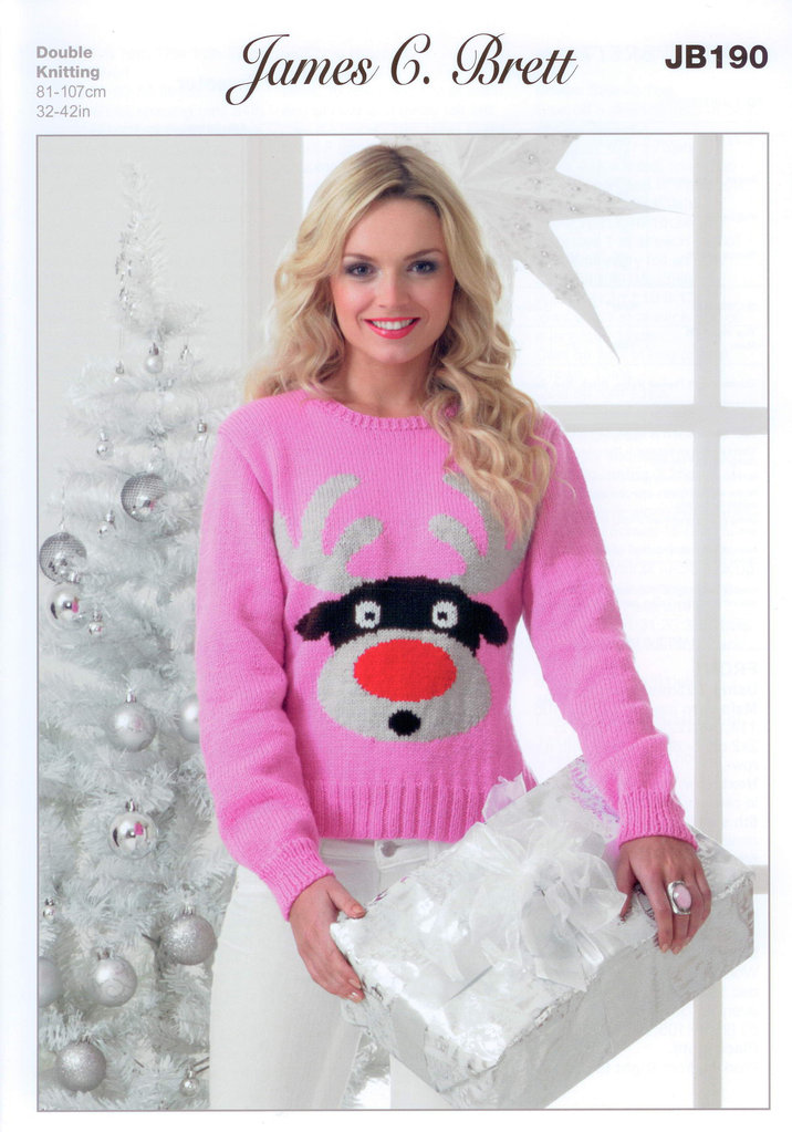 Ladies Rudolph Christmas Sweater JB190 Knitting Pattern