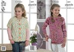 King Cole 3891 Knitting Pattern Girls Sweater and Cardigan to knit in Popsicle