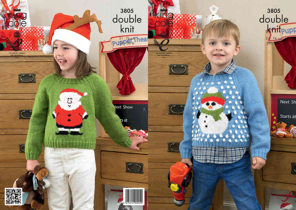 King Cole 3805 Knitting Pattern Christmas Sweaters In King Cole