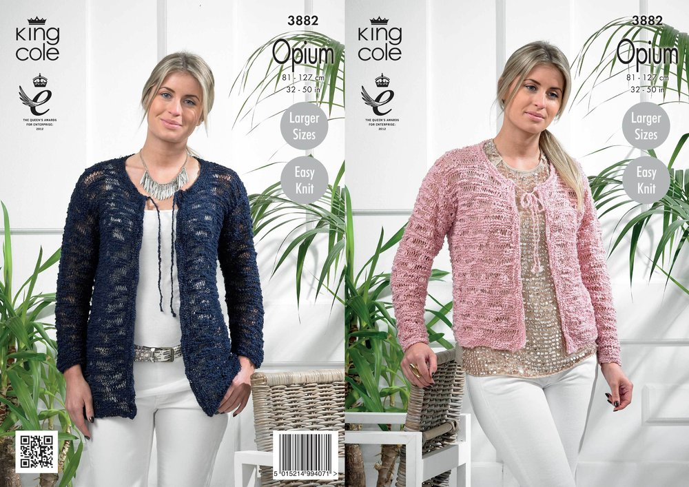 78d2bb9d0 King Cole 3882 Crochet Pattern Ladies Cardigan in King Cole Opium - Athenbys