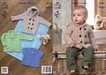 King Cole 3724 Knitting Pattern Coat with Hood, Jacket with Pockets and Lacy Cardigan