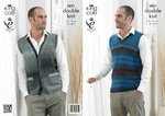 King Cole 3831 Knitting Pattern Mens Waistcoat and Slipover in King Cole Country Tweed DK