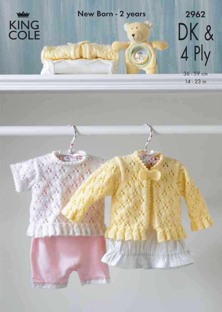 King Cole 2962 Knitting Pattern Baby Cardigan & Top in King Cole DK ...