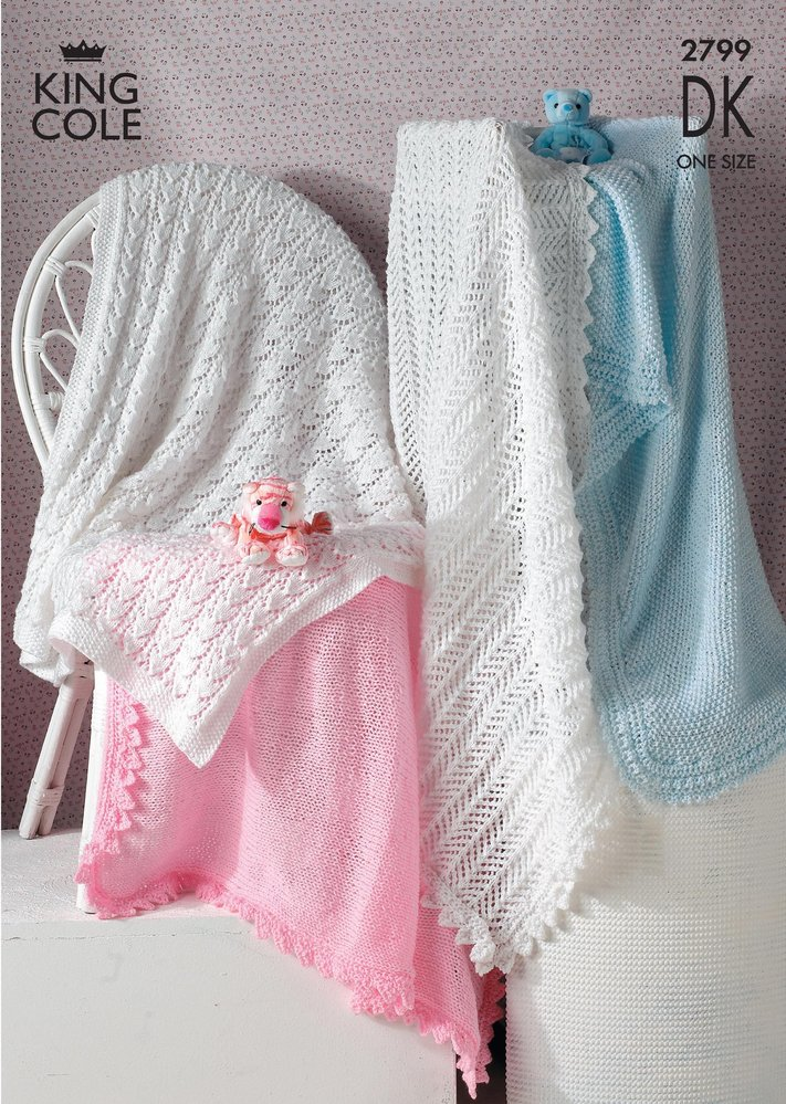 King Cole 2799 Knitting Pattern Baby Shawls in King Cole DK - Athenbys