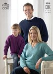 King Cole 3018 Knitting Pattern Family Sweaters & Cardigan in King Cole Merino Blend DK