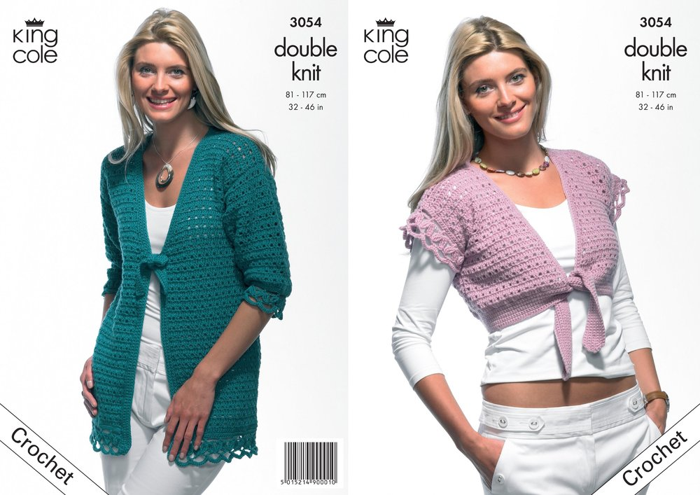 King Cole 3054 Crochet Pattern Cardigan Top With Ties In King Cole