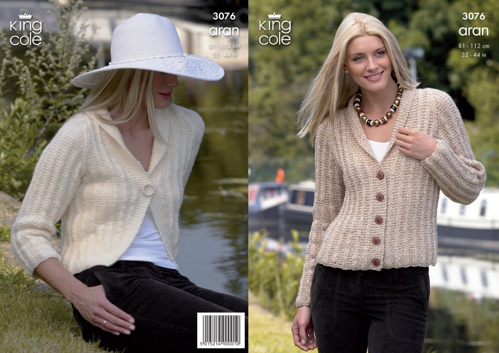 71f190618 King Cole 3076 Knitting Pattern Cardigan and Bolero Knitted in King ...