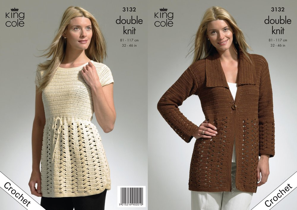 King Cole 3132 Crochet Pattern Crochet Jacket And Tunic In King Cole