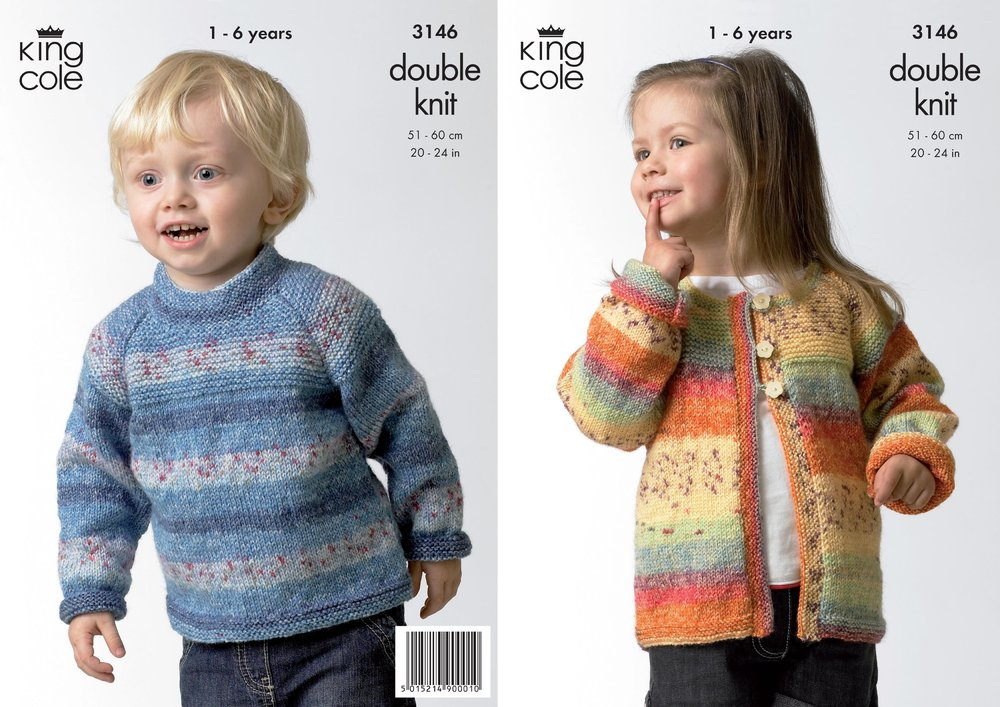 King Cole 3146 Knitting Pattern Sweater & Cardigan in King Cole ...