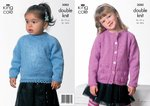 King Cole 3082 Knitting Pattern Girls Cardigan & Sweater in King Cole Big Value DK