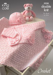 King Cole 3258 Crochet Pattern Bolero, Hat & Pram Blanket in King Cole DK