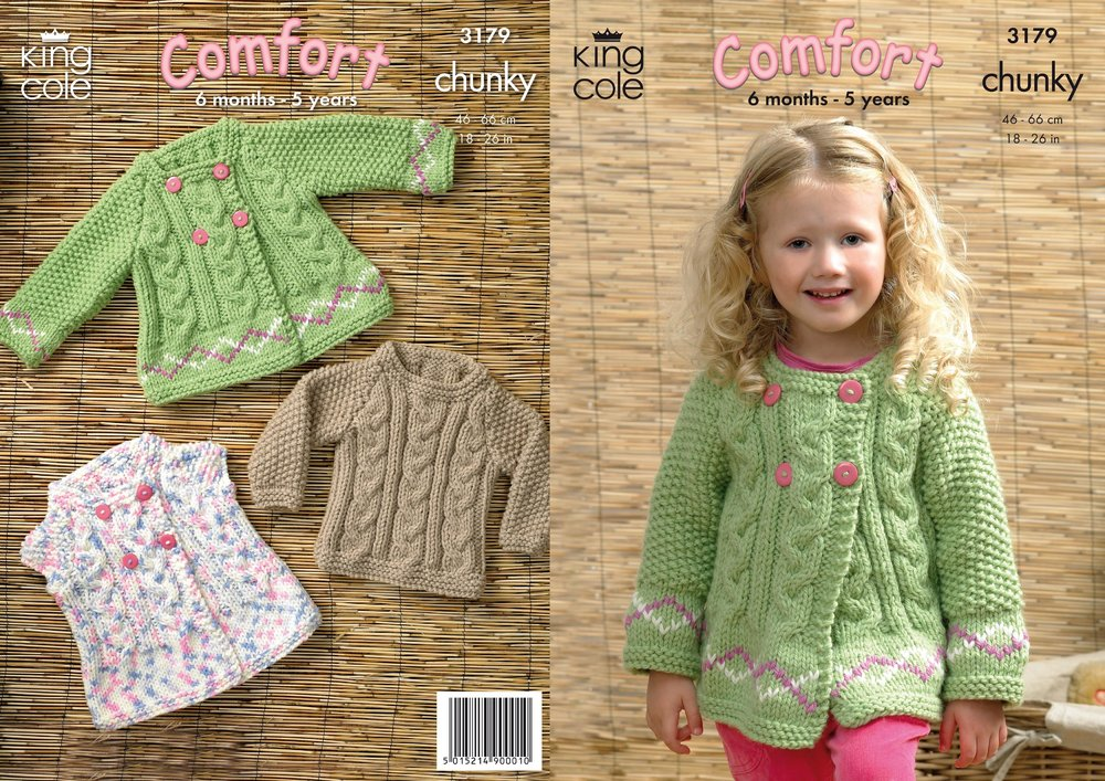 ad085633cf0a King Cole 3179 Knitting Pattern Baby Girls Sweater and Jackets in ...