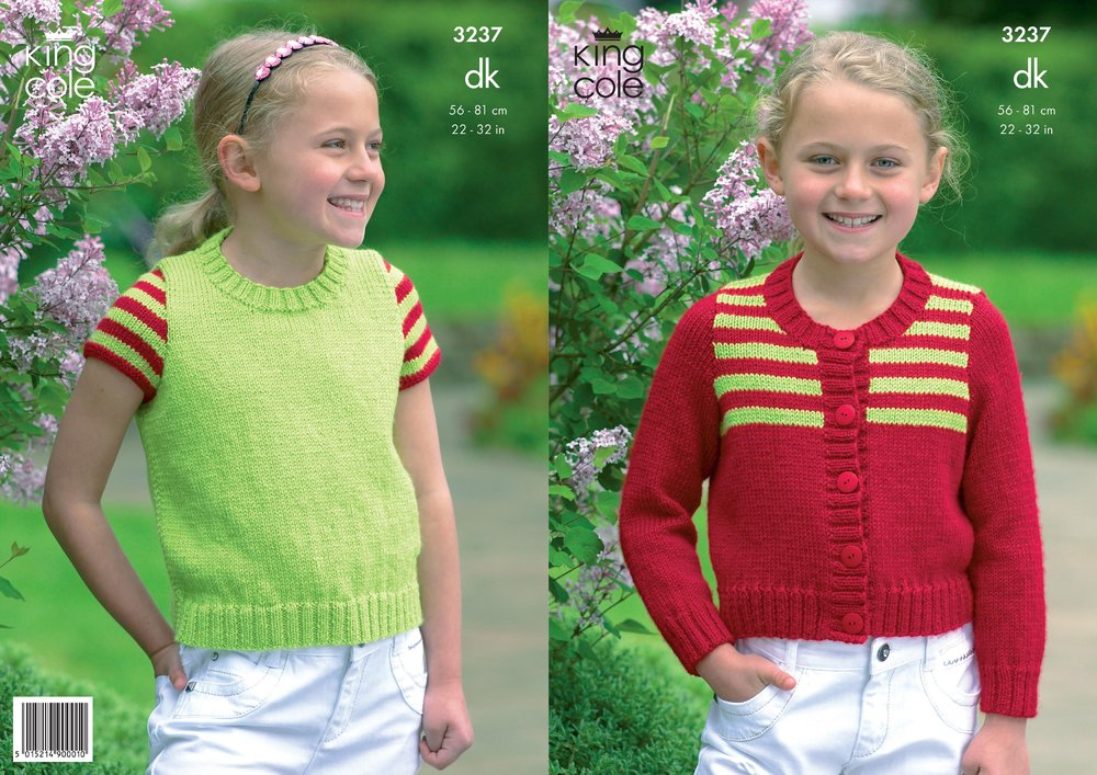 King Cole 3237 Knitting Pattern Girls Striped Cardigan and Top in ...