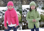 King Cole 3303 Knitting Pattern Long and Short Jackets, Hat and Scarf in King Cole Comfort Chunky