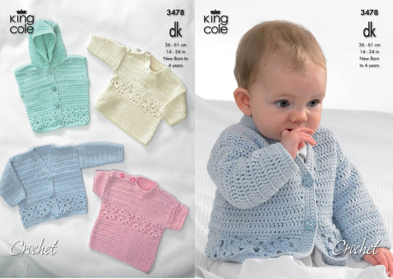 King Cole 3478 Crochet Pattern Cardigan, Hooded Gilet, Long and ...