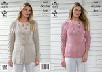 King Cole 3693 Knitting Pattern Cardigan and Top in King Cole Bamboo Cotton DK