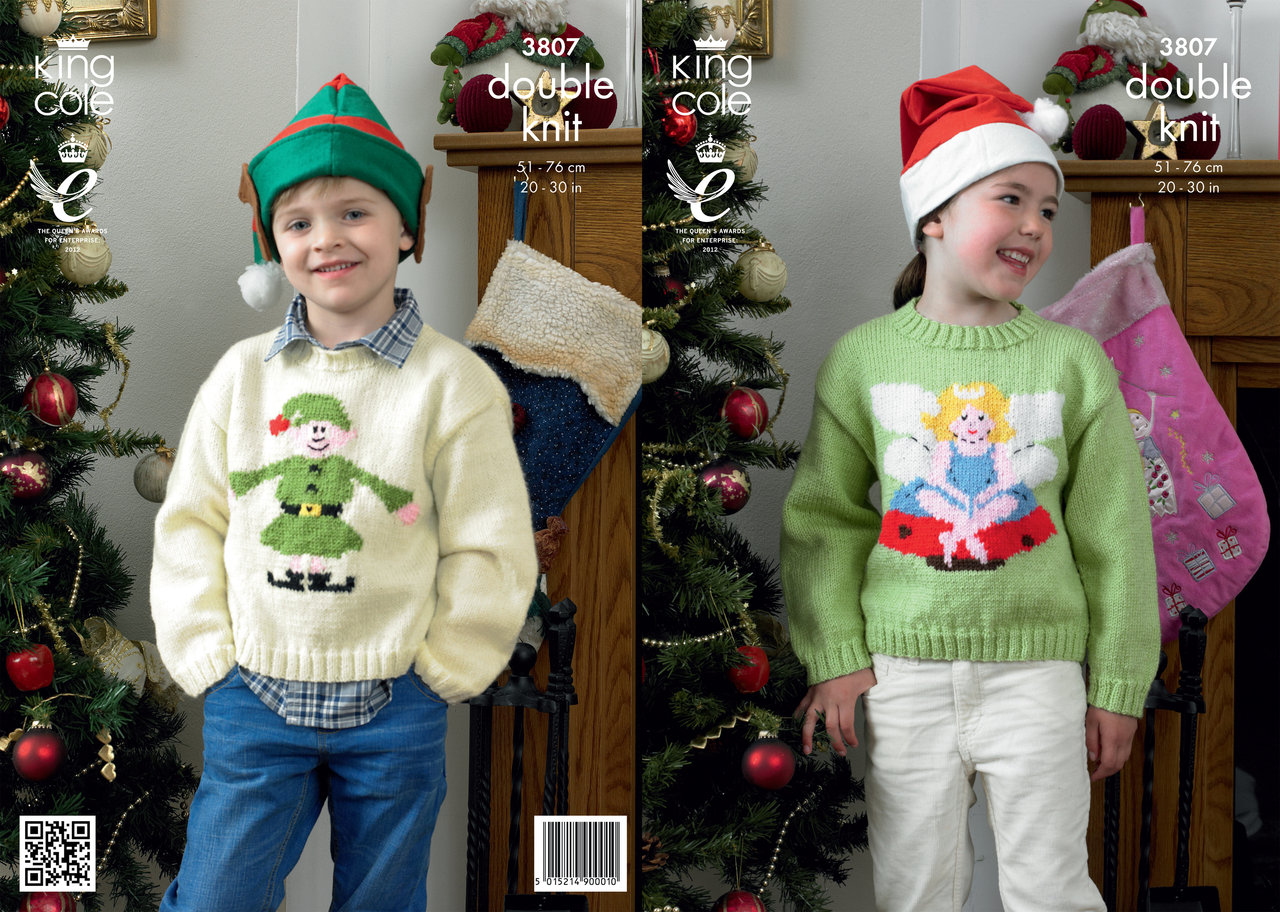King Cole 3807 Knitting Pattern Elf and Fairy Christmas Sweaters in ...