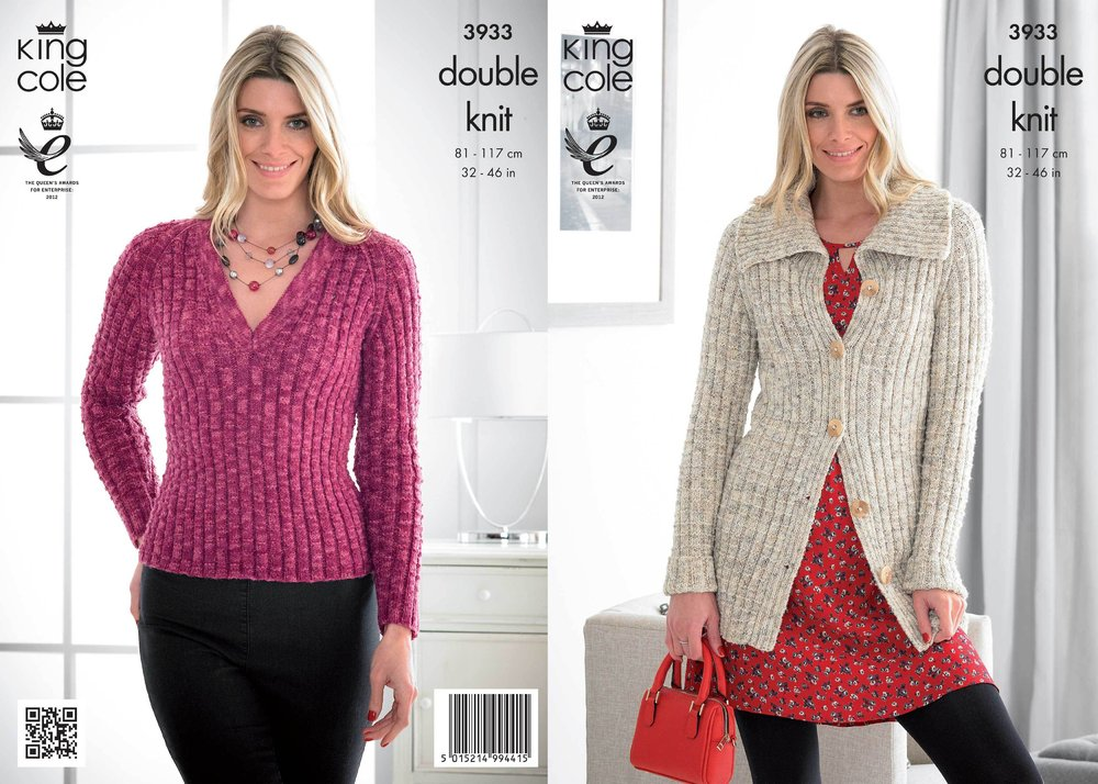 e6ec82b7538 King Cole 3933 Knitting Pattern Womens Jacket and Sweater in King Cole  Moods Duet DK