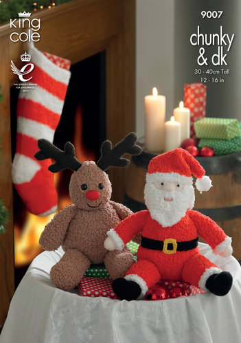 King Cole 9007 Knitting Pattern Santa and Rudolph toys and Stocking In King Cole Chunky & DK