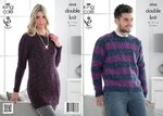 King Cole 3930 Knitting Pattern Sweater and Tunic in King Cole Moods Duet DK