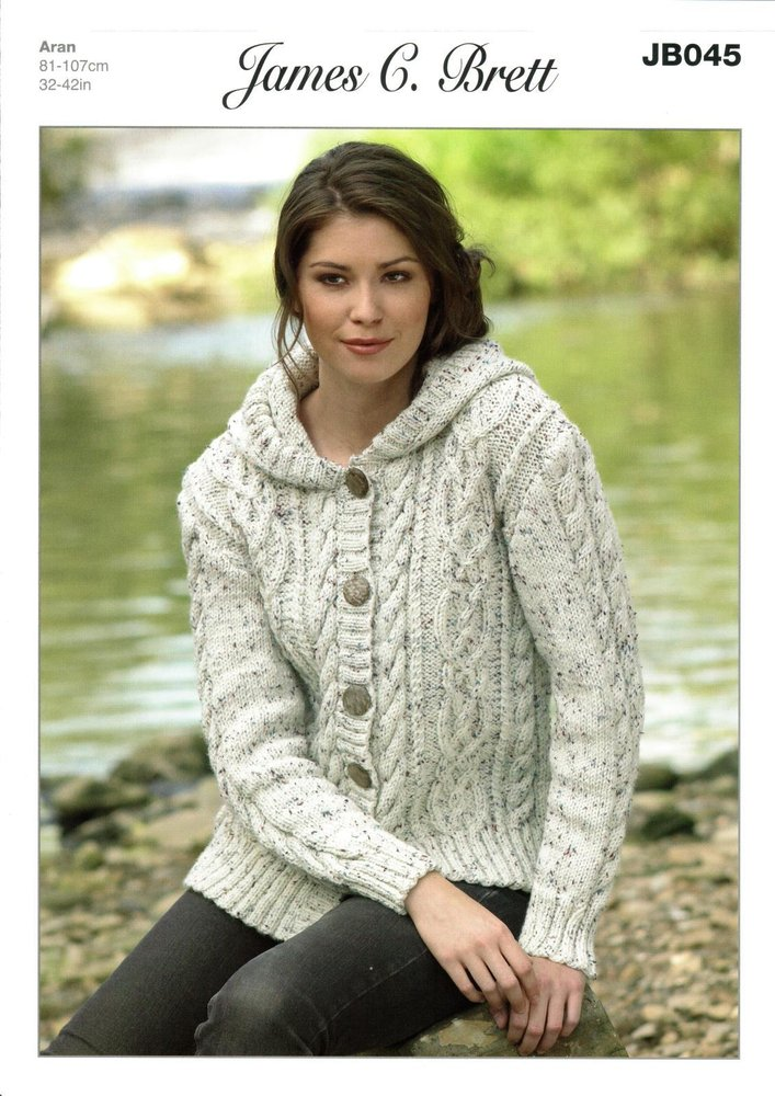 a2cb000d5 James C Brett JB045 Knitting Pattern Womens Hooded Jacket in Rustic With Wool  Aran - Athenbys