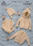 King Cole 2939 Knitting Pattern Baby Sweater Cardigans & Hat in Magnum Chunky