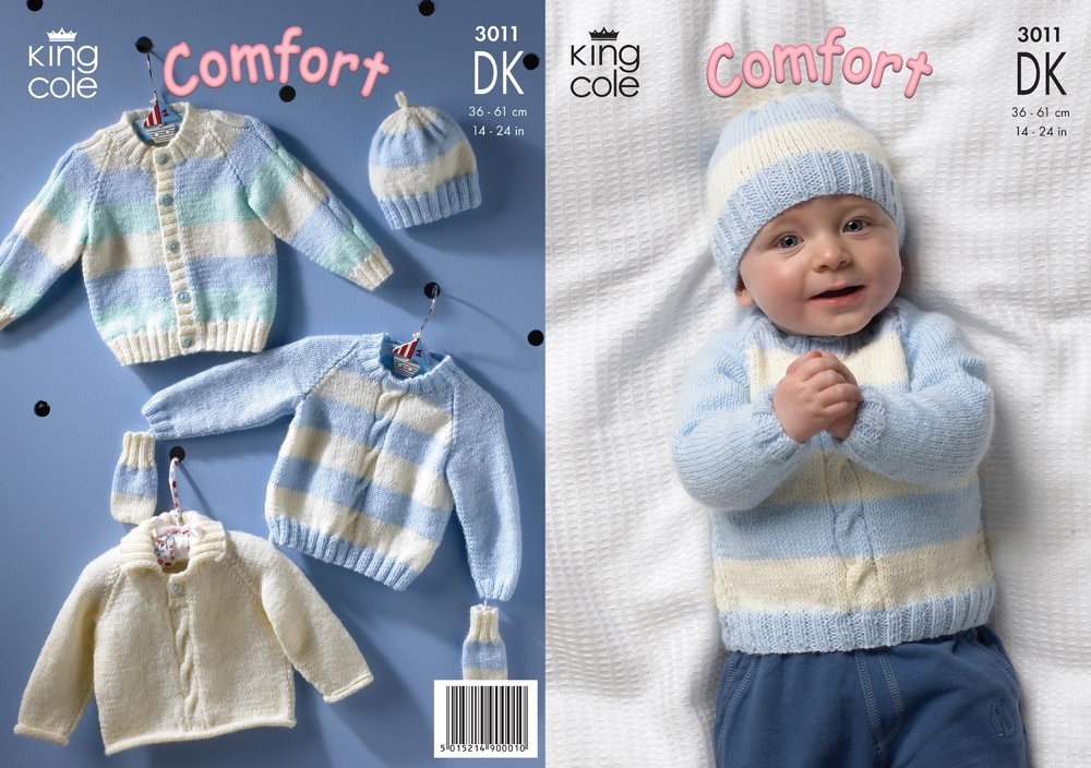 King Cole 3011 Knitting Pattern Cardigan Sweaters Hat And Mittens
