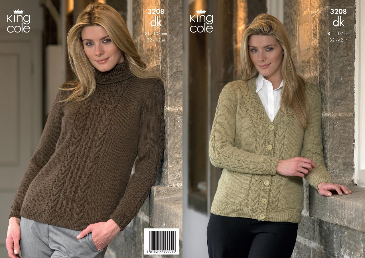 King Cole 3208 Knitting Pattern Womens Cardigan and Sweater in King ...