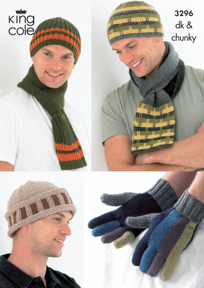 King Cole 3296 Knitting Pattern Mens Hats, Scarves and Gloves in ...