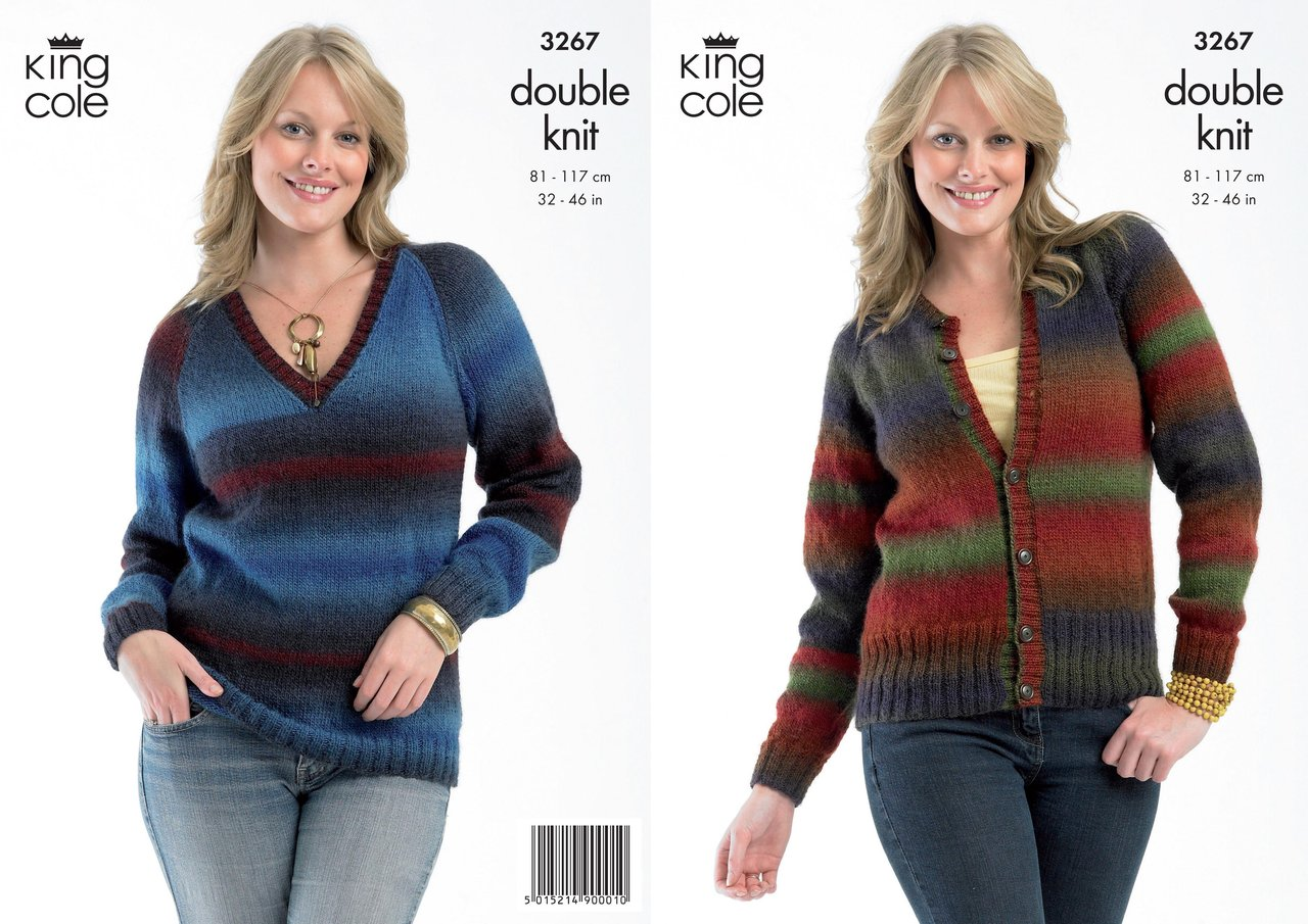 King Cole 3267 Knitting Pattern Sweater and Cardigan in King Cole ...