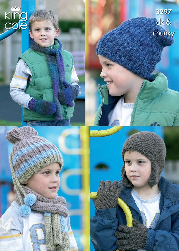 King Cole 3297 Knitting Pattern Boys Hats Scarves Gloves Mittens
