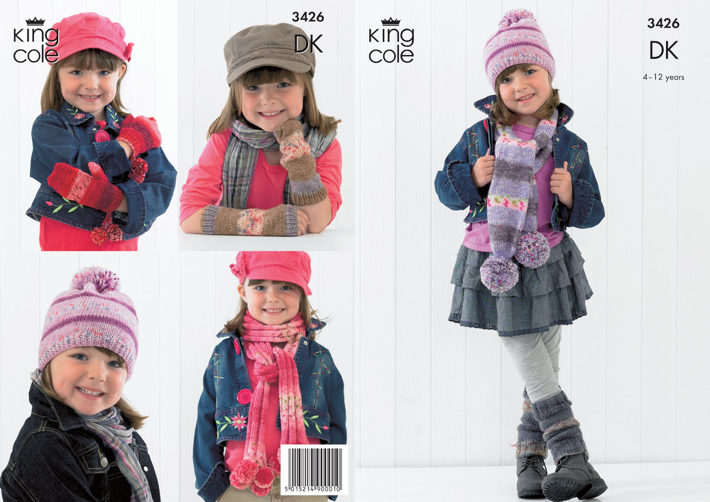 King Cole 3426 Knitting Pattern Childrens Scarves Mitts And Hat In