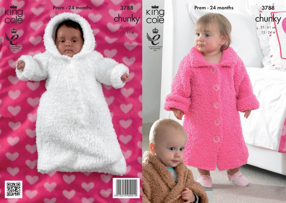6ac4c45043d2fb King Cole 3788 Knitting Pattern Dressing Gowns and Sleeping Bag in King Cole  Cuddles Chunky - Athenbys