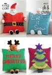 King Cole 4111 Knitting Pattern Christmas Novelty Cushions in King Cole DK & Chunky