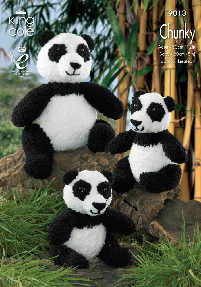 King Cole 9059 Knitting Pattern Chunky Panda Toy