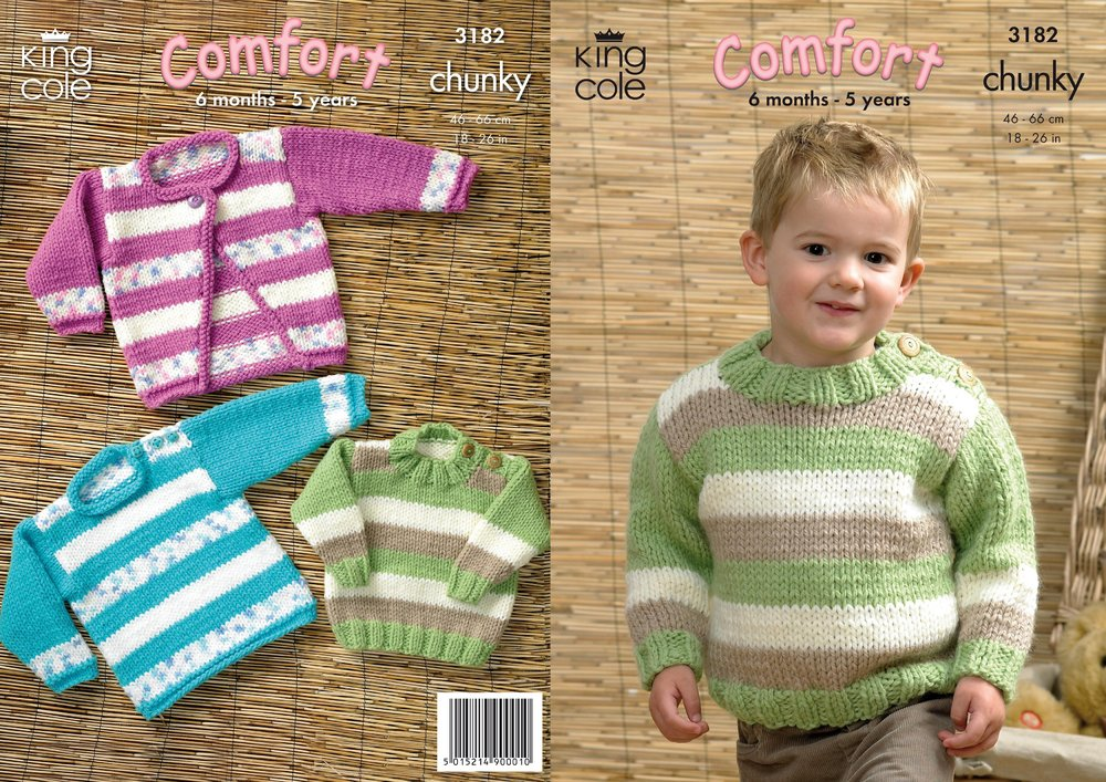 5457c78170e3 King Cole 3182 Knitting Pattern Sweaters and Cardigan in King Cole ...