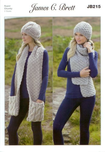 f37e64bd0 James C Brett JB215 Knitting Pattern Ladies Hats and Scarves in Amazon  Super Chunky