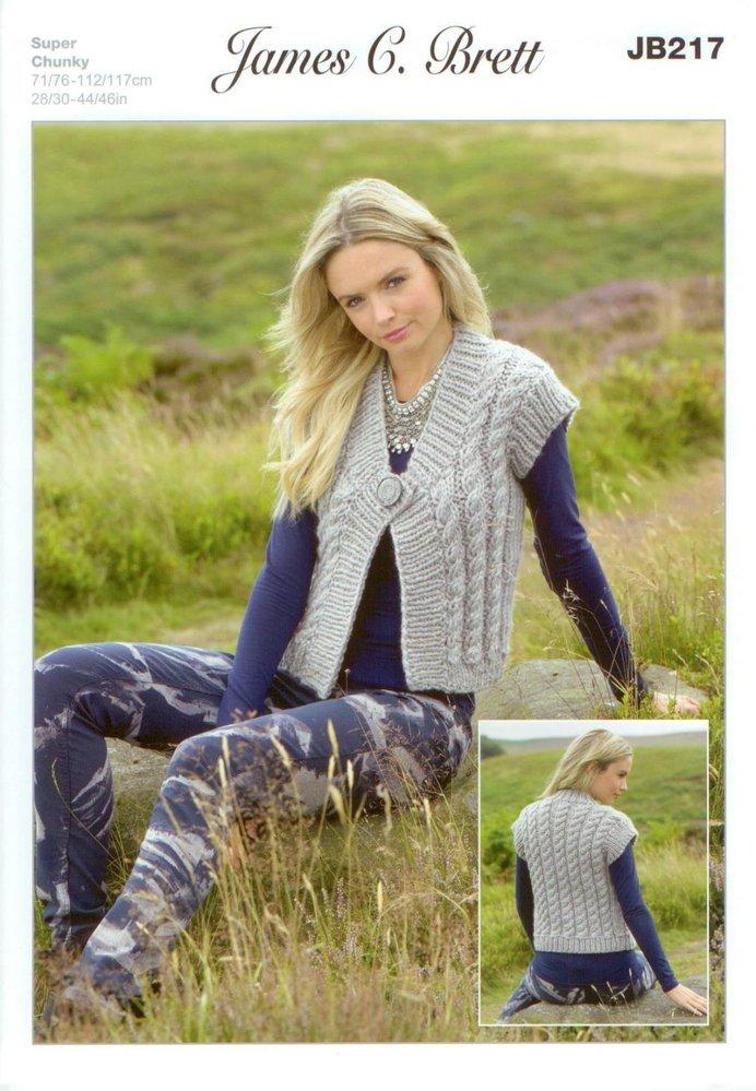 0bc2afab826e James C Brett JB217 Knitting Pattern Ladies Waistcoat in Amazon Super Chunky  - Athenbys
