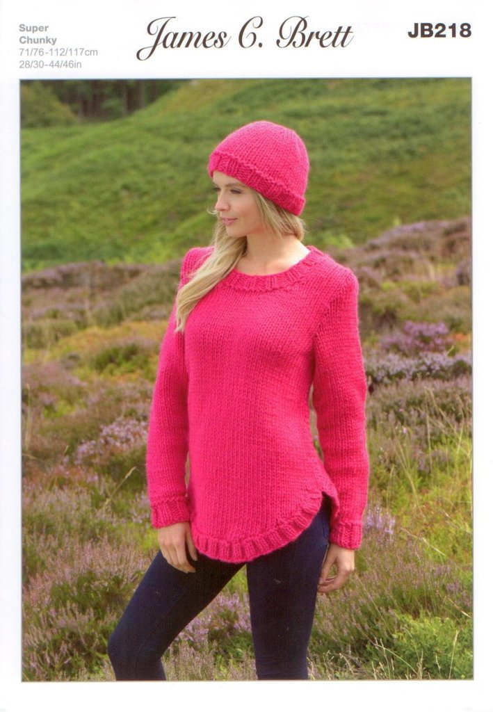 James C Brett JB218 Knitting Pattern Ladies Sweater and Hat in ...