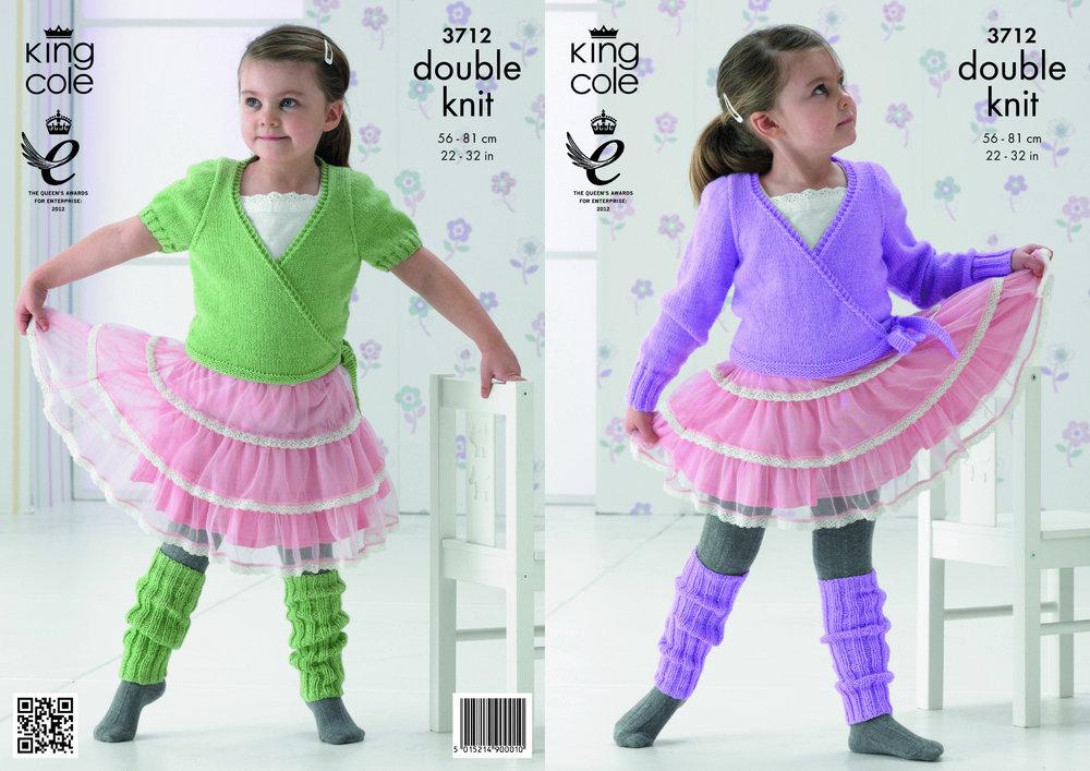 King Cole 3712 Knitting Pattern Girls Ballet Cardigan And Leg