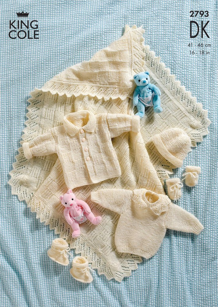 70d2bfa19 King Cole 2793 Knitting Pattern Shawl and Layette in King Cole DK ...