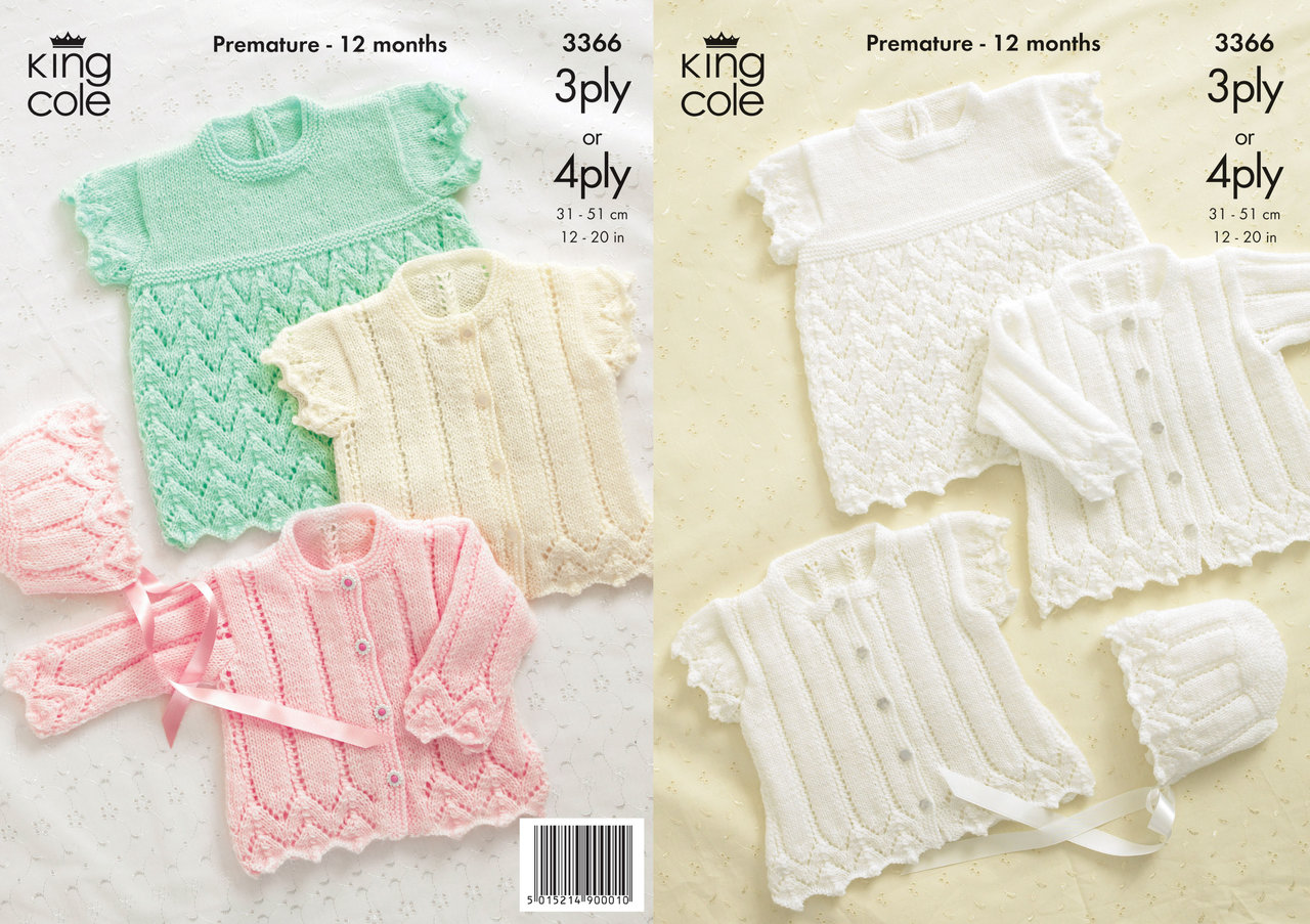King Cole 3366 Knitting Pattern Cardigans, Bonnet and Angel Top in ...