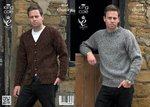 King Cole 4034 Knitting Pattern Mens Sweater and Cardigan in Chunky Tweed
