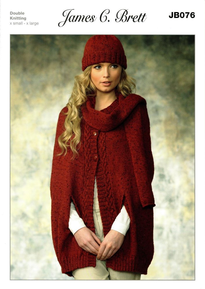 James C Brett Jb076 Knitting Pattern Womens Cape Hat And Scarf In