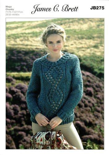 cdc05016f James C Brett JB275 Knitting Pattern Sweater in James C. Brett Rustic Mega  Chunky